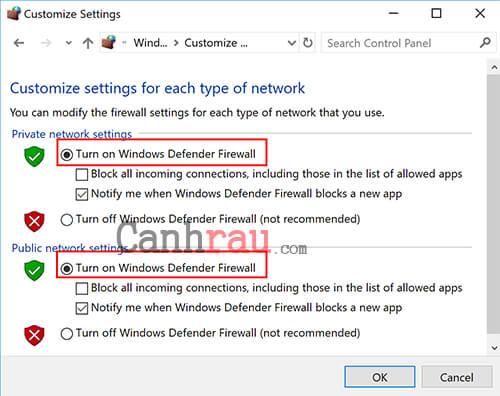Bật tắt tường lửa trên Windows 10 trong Control Panel 4