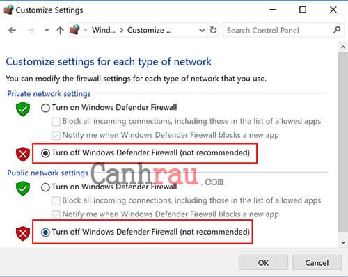 bật tắt tường lửa trên Windows 10 trong Control Panel hình 5