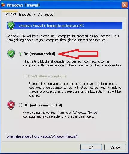 Bật Windows firewall Windows xp hình 3