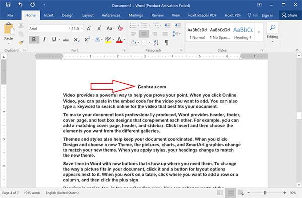 đánh số trang từ trang bất kỳ, đánh số trang trong Word theo ý muốn hình 1