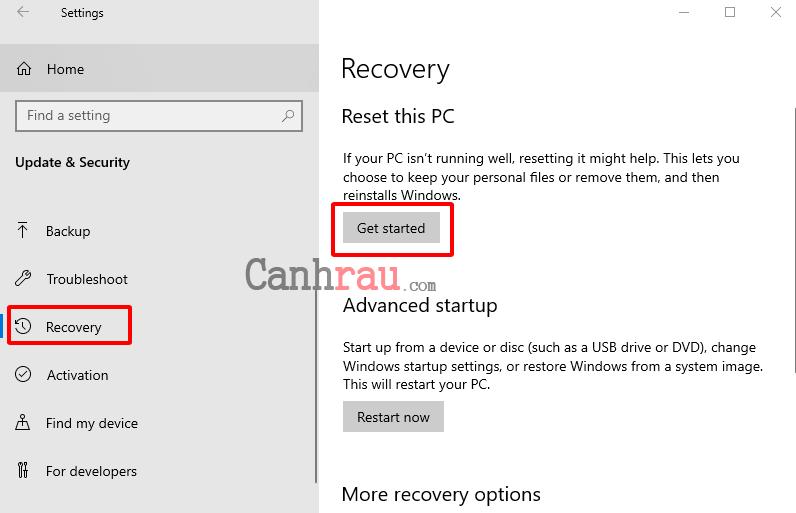 Cách reset máy tính trên Windows 10 hình 8