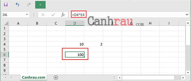 Cách tính hàm bình phương trong Excel hình 4