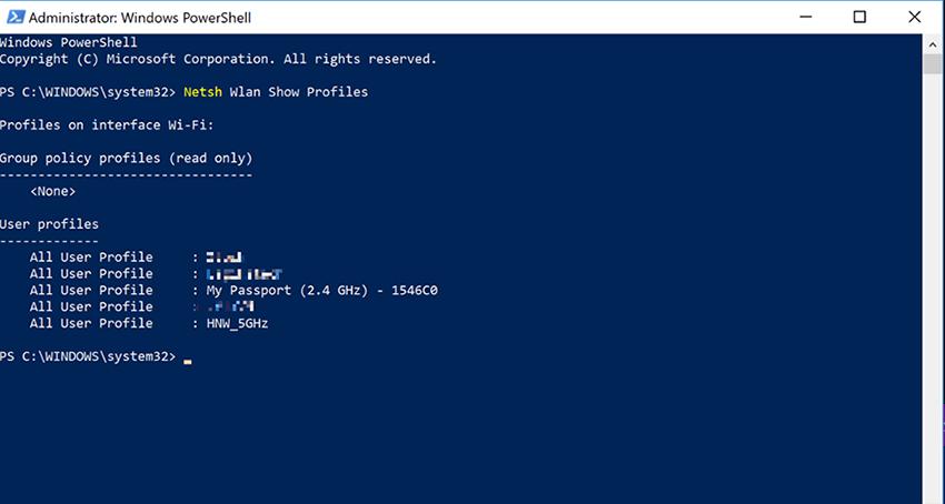 Cách xem mật khẩu Wifi bằng Command Prompt / Powershell 3
