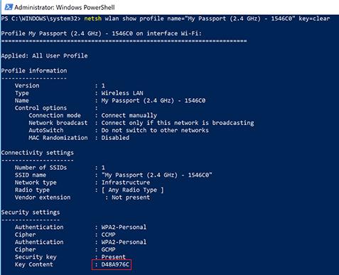 Cách xem mật khẩu Wifi bằng Command Prompt / Powershell 5