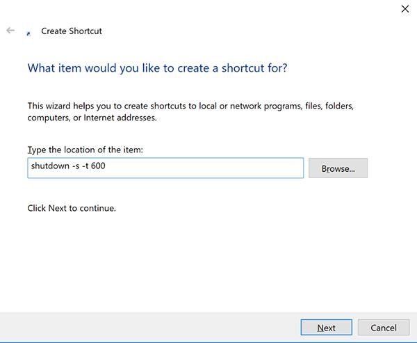 Sử dụng câu lệnh tạo Shortcut để hẹn giờ tắt máy Windows 10 2