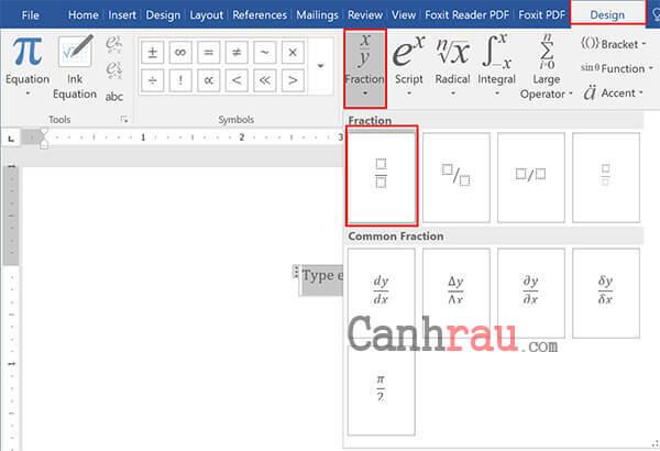 Dùng công cụ Equation để đánh phân số trong Word hình 2
