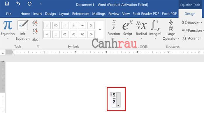 Dùng công cụ Equation để đánh phân số trong Word hình 3