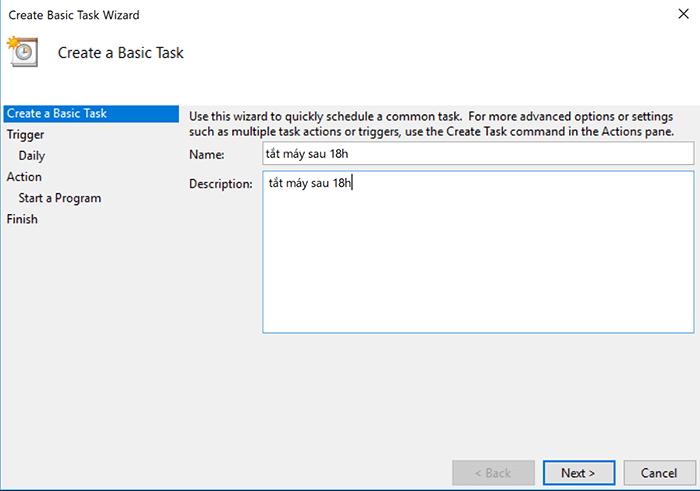 Hẹn giờ tắt máy theo lịch bằng Task Scheduler 3