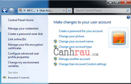 Hướng dẫn đặt Password máy tính để bàn hình 7