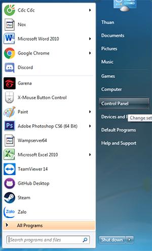 thay đổi tốc độ chuột máy tính trong Windows 7 hình 1