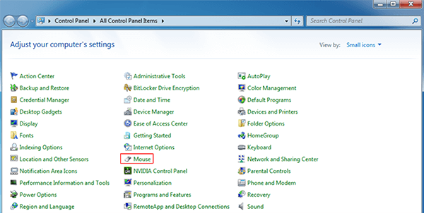 thay đổi tốc độ chuột máy tính trong Windows 7 hình 2