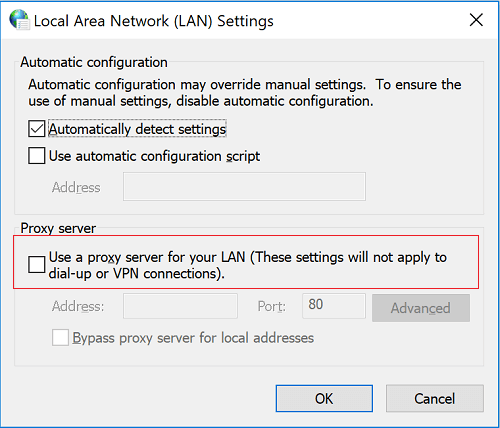 Lỗi Proxy Server bị thiết lập sai 4