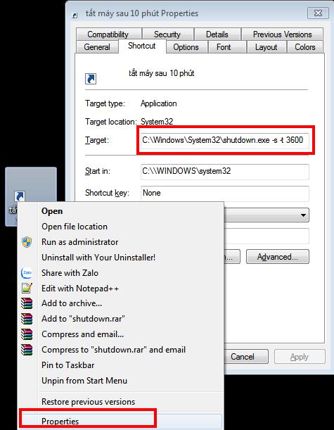 Sử dụng câu lệnh tạo Shortcut để hẹn giờ tắt máy Windows 10 hình 10