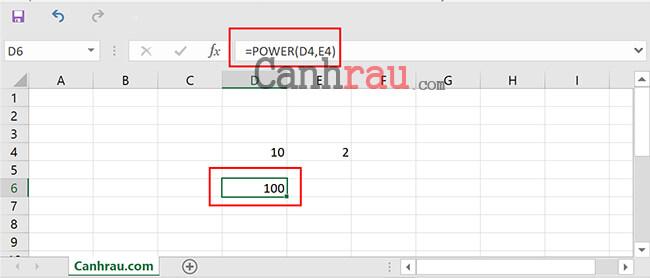 Sử dụng hàm POWER để tính lũy thừa trong Excel hình 4