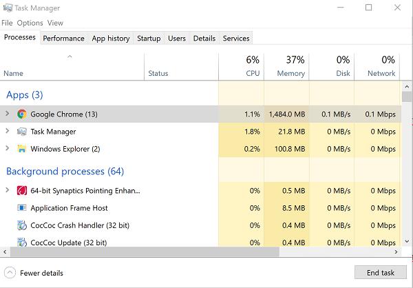 Sử dụng Task Manager tắt các ứng dụng không cần thiết
