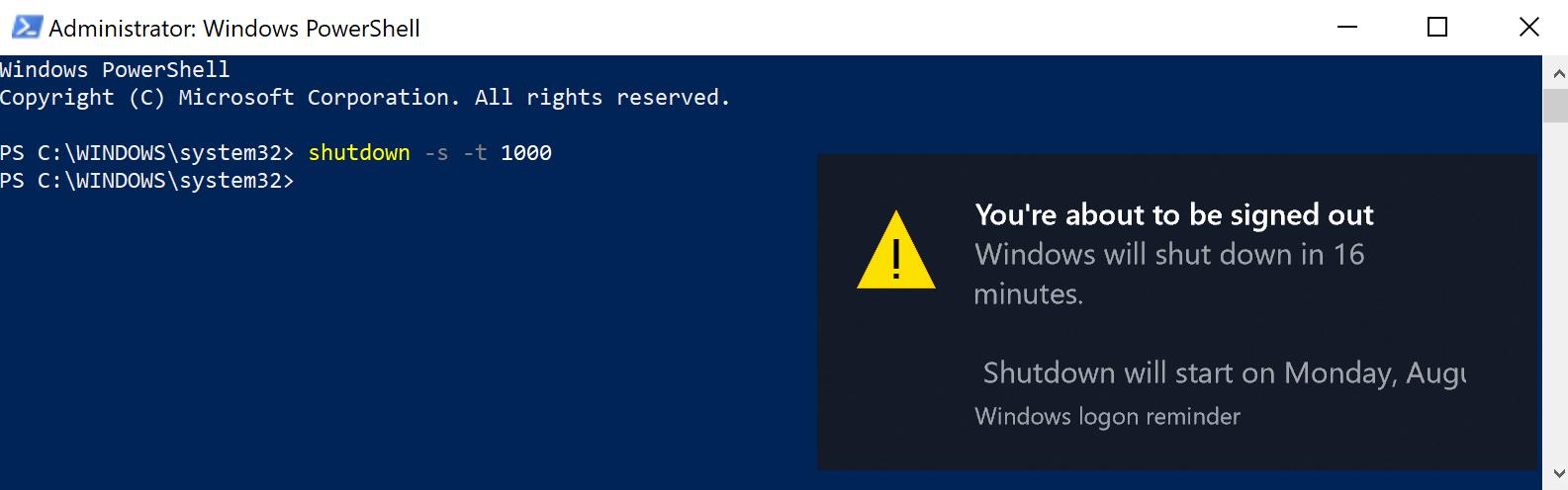 Sử dụng Window PowerShell (Admin) để hẹn giờ tắt máy tính, laptop Windows 10 1