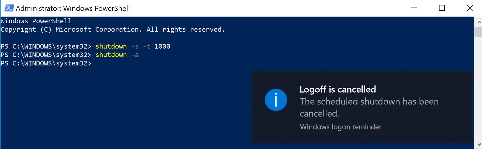 Sử dụng Window PowerShell (Admin) để hẹn giờ tắt máy tính, laptop Windows 10 2