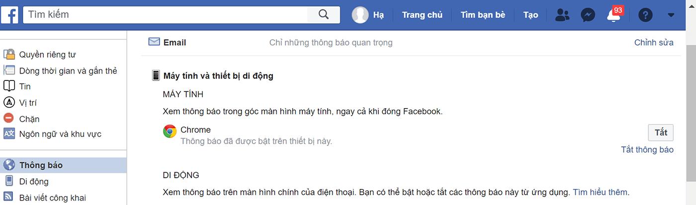 Tắt thông báo bằng giao diện cài đặt tài khoản Facebook 3
