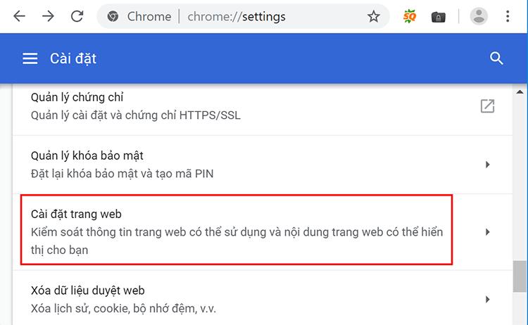 Tắt thông báo Facebook bằng cài đặt Menu Google Chrome 3