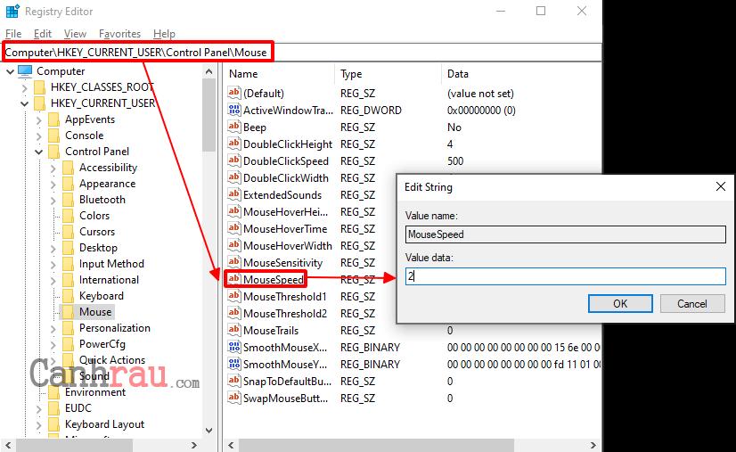 Thay đổi độ nhạy của chuột bằng registry editor hình 2