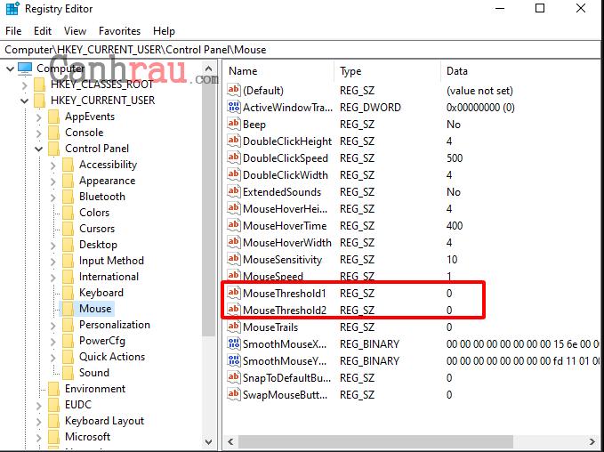 Thay đổi độ nhạy của chuột bằng registry editor hình 3