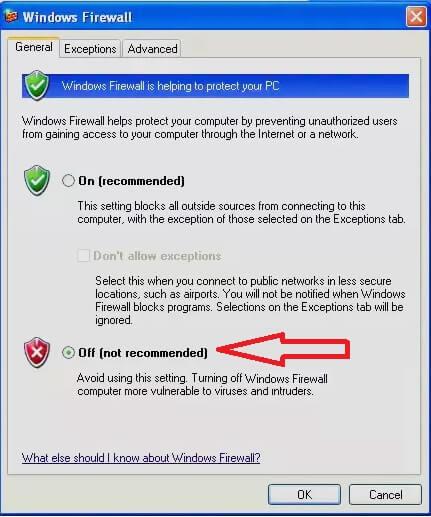 Vô hiệu hóa tường lửa trong Windows xp hình 6