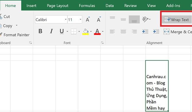 Xuống hàng Excel bằng tính năng Wrap Text