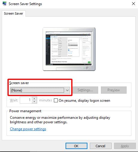 Tắt chế độ sleep bằng screen saver settings hình 3