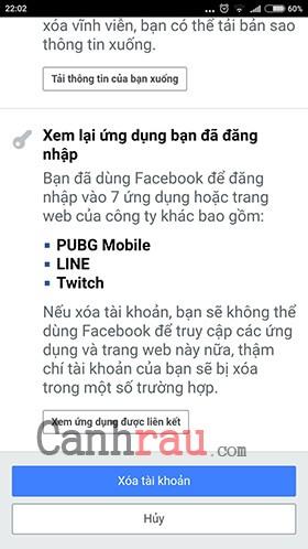 xóa tài khoản facebook trên điện thoại vĩnh viễn hình 3