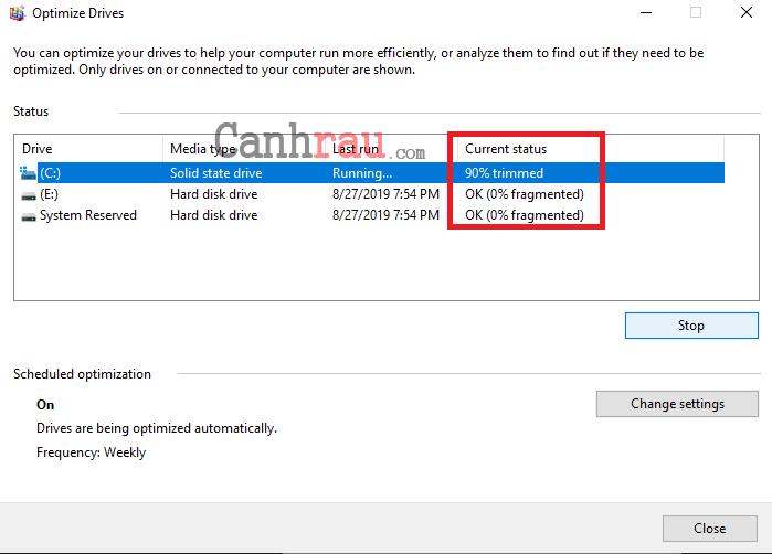 chống phân mảnh ổ cứng Windows 10 hình 4