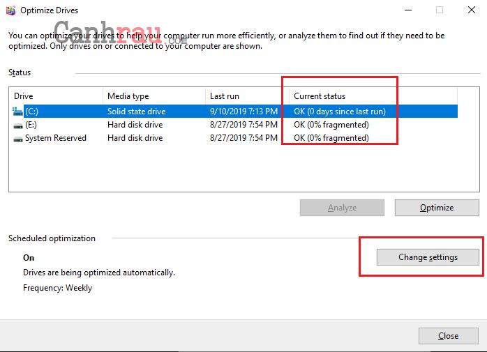 chống phân mảnh ổ cứng Windows 10 hình 5