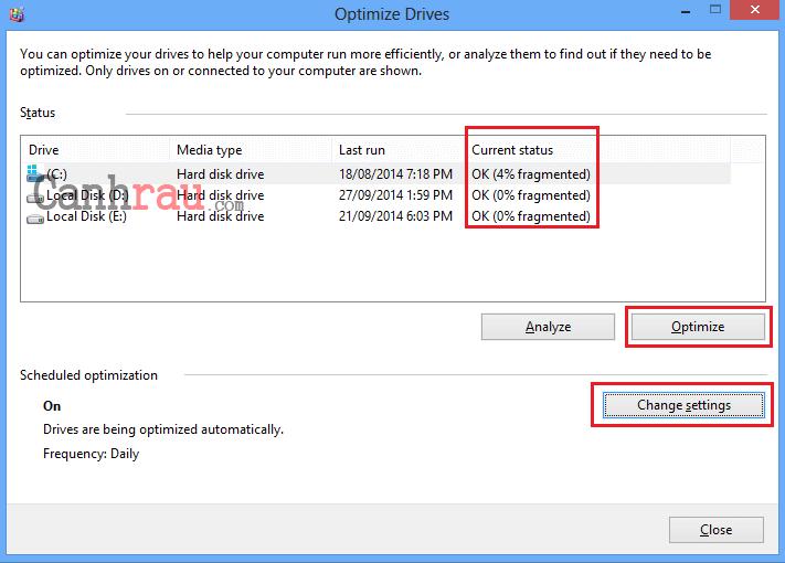 chống phân mảnh ổ cứng Windows 8 hình 2