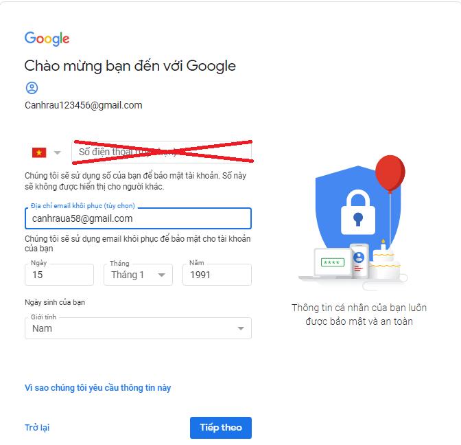 tạo gmail không cần số điện thoại hình 2