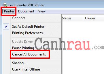 xóa tất cả lệnh in bằng control printers hình 3
