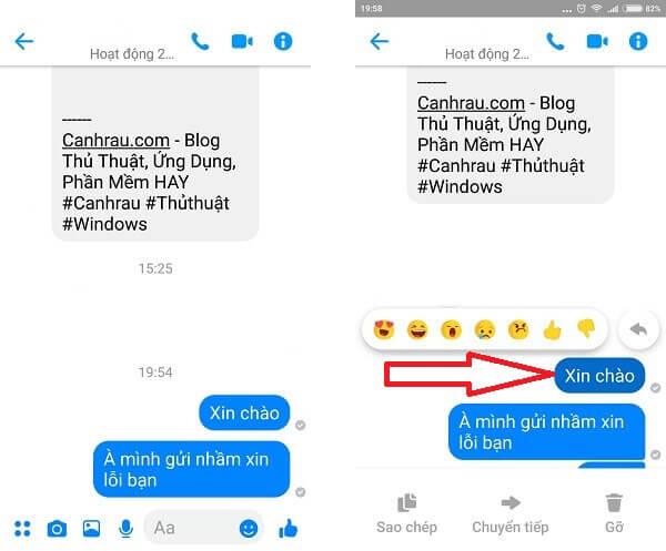 xóa tin nhắn messenger đã gửi trên điện thoại hình 1
