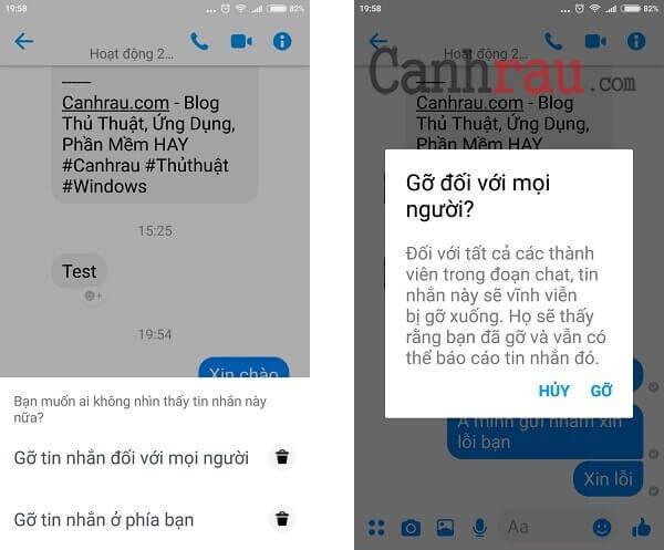 xóa tin nhắn messenger đã gửi trên điện thoại hình 2