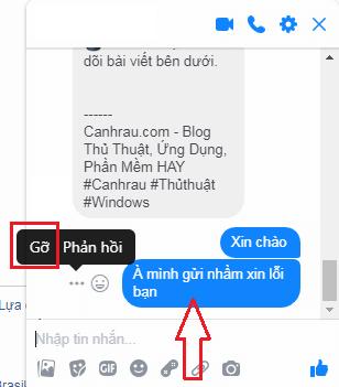 xóa tin nhắn messenger gửi nhầm trên máy tính hình 1