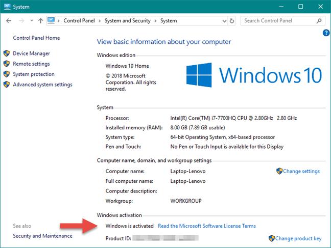 Cách kiểm tra Windows đã active bằng Windows Settings hình 2