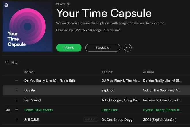 spotify time capsule