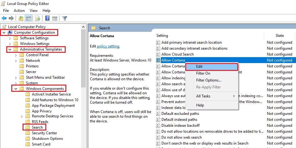 cách tắt cortana trên Windows 10 hình 2