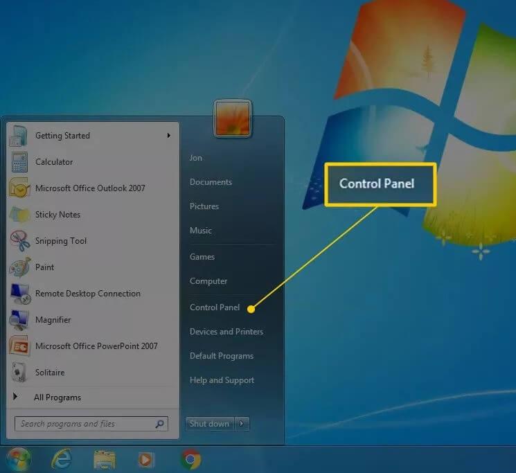 Cách mở control panel windows 7 xp vista hình 1