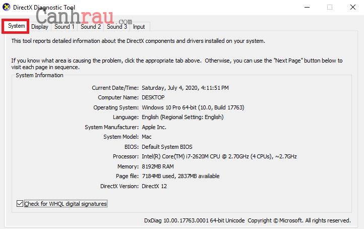 Cách xem và kiểm tra cấu hình máy tính hình 4