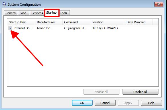Tắt các phần mềm tự khởi động Windows 7 hình 4