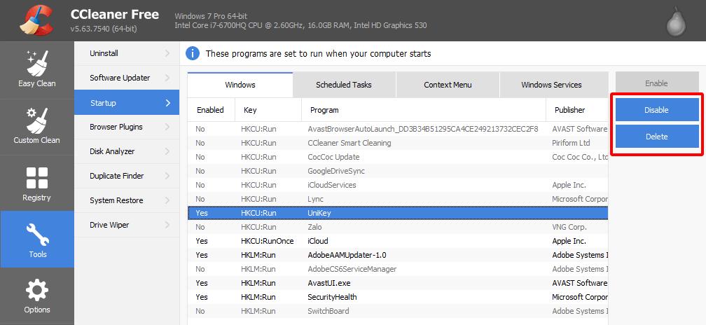 Tắt các phần mềm tự khởi động Windows 7 hình 7