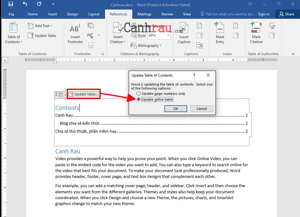 Cách tạo mục lục trong word hình 2