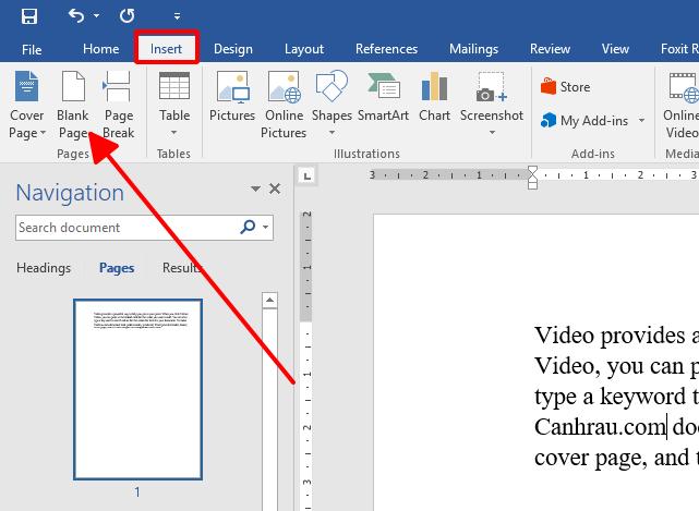 Cách thêm trang trắng trong word hình 3