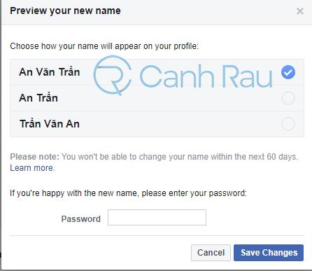 Cách đổi tên Facebook khi chưa đủ 60 ngày hình 6