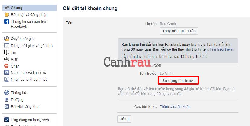 Cách đổi tên facebook trước 60 ngày hình 16