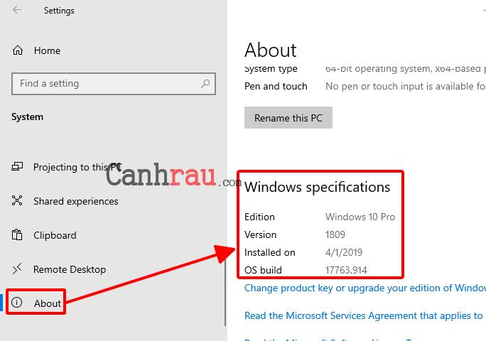 Cách xem phiên bản Windows 10 hiện tại trên máy tính hình 2