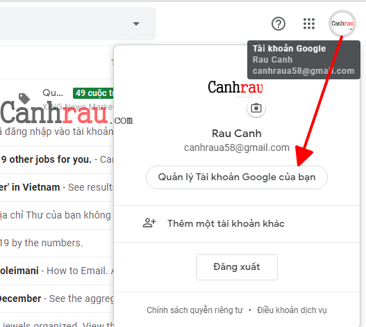 Cách xóa tài khoản gmail và google hình 1
